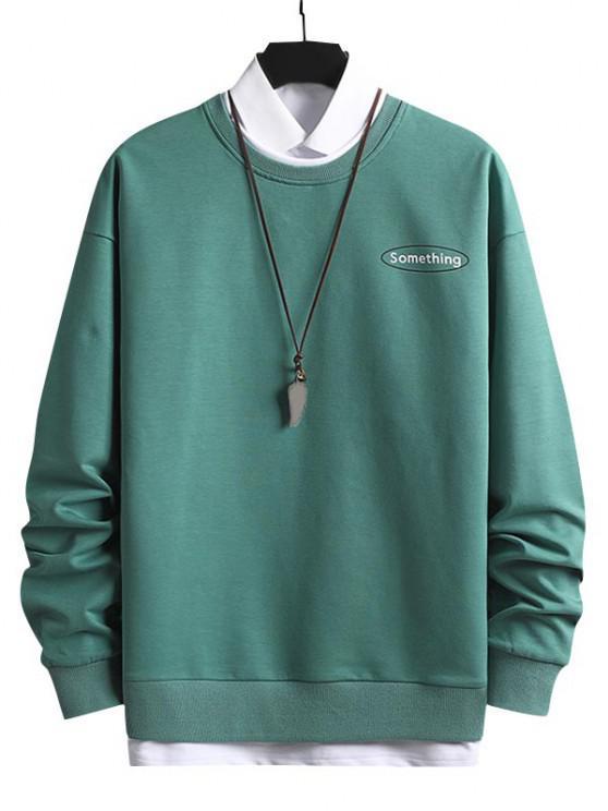 Crewneck 2 In 1 Put In Something Graphic Sweatshirt - متوسطة أكوامارين XS