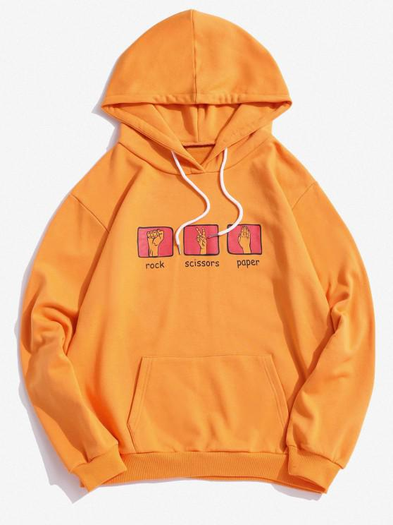 outfits Hand Game Rock Scissors Paper Print Graphic Hoodie - YELLOW 2XL