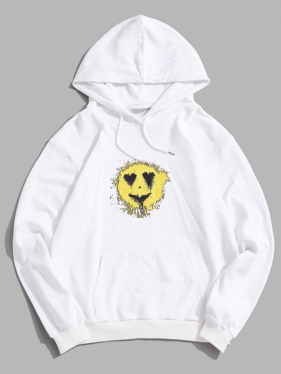 Love Heart Smiling Face Happy Pattern Hoodie - أبيض XL