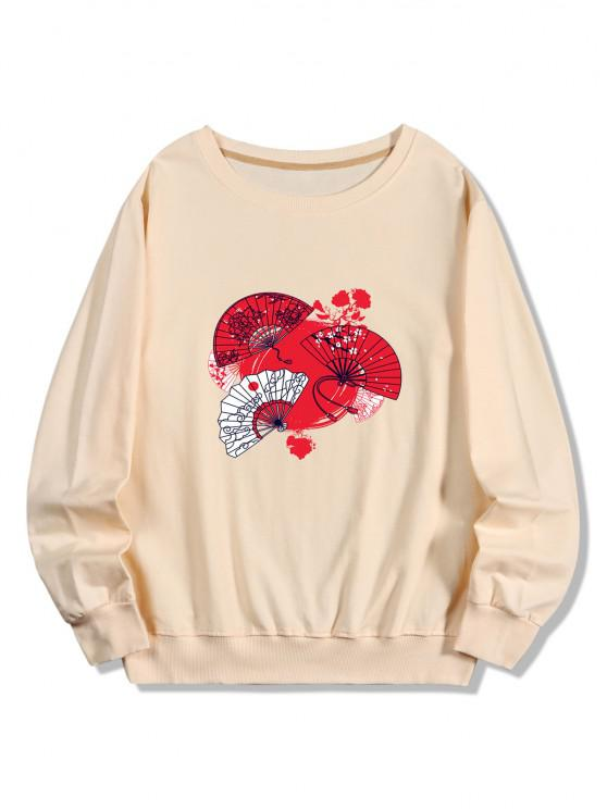 sale Japanese Fan Print Pullover Sweatshirt - PEACH L