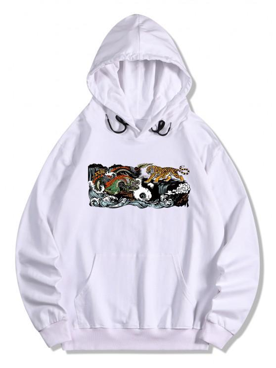 Kangaroo Pocket Dragon Tiger Print Hoodie - أبيض M
