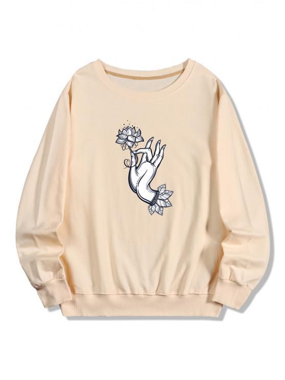 unique Flower Hand Print Pullover Sweatshirt - PEACH S