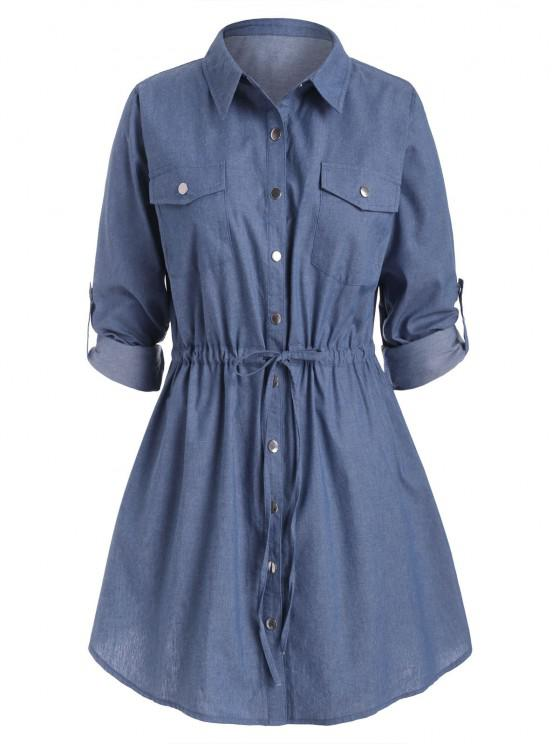 Plus Size Roll Sleeve Chambray Snap Button Shirt Dress - Azul L