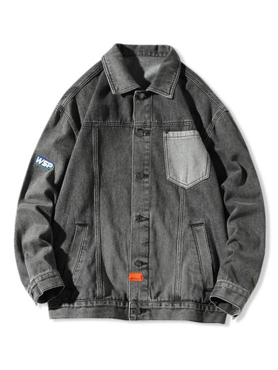shops Letter Pocket Patch Jean Jacket - BLACK 2XL