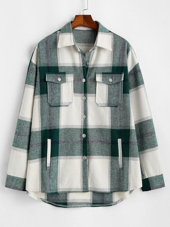women's Plaid Pattern Flap Pocket Shirt Jacket - DEEP GREEN L