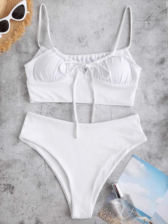chic ZAFUL Textured Tied High Cut Tankini Swimwear - WHITE S