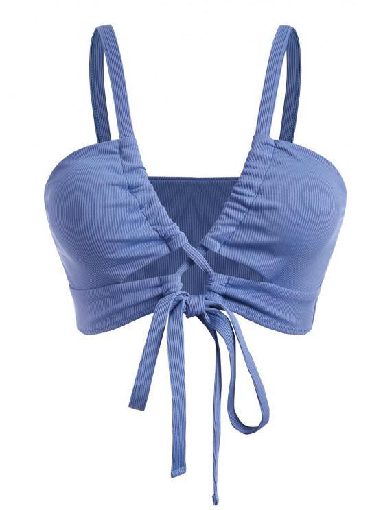 ZAFUL Übergröße Geripptes Bikini-Top mit Schnürung - Blau XXL