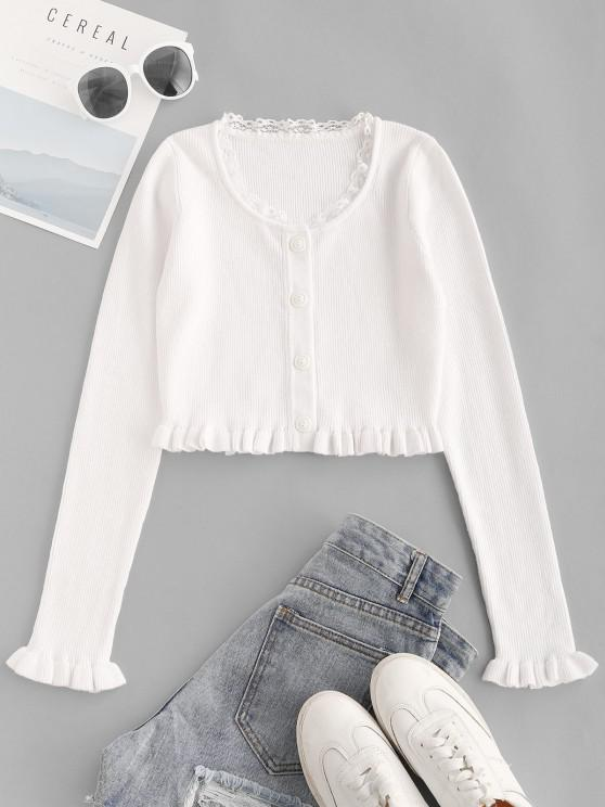 latest Lace Trim Frilled Ribbed Slim Knitwear - WHITE M