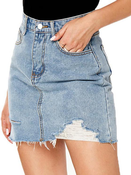 Ripped Pocket Bodycon Denim Skirt - أزرق M