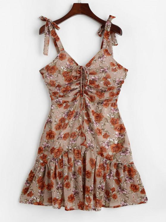 best Flower Tie Shoulder Cinched Flounce Hem Dress - LIGHT COFFEE L