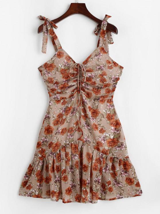 Flower Tie Shoulder Cinched Flounce Hem Dress - القهوة الخفيفة M
