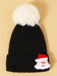 Christmas Santa Pattern Pom Pom Hat - Black
