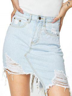 Distressed Pocket Asymmetrical Denim Skirt - Light Blue S