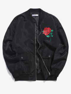 Rose Flower Pattern Flap Pocket Jacket - Black 2xl