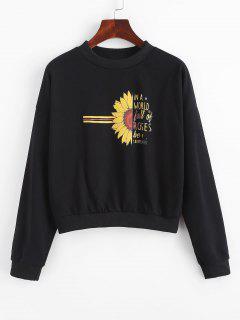 Half Sunflower Letter Graphic Sweatshirt - Black L