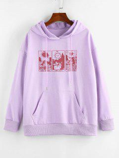 ZAFUL Moon Sun Star Graphic Pocket Drop Shoulder Hoodie - Light Purple Xl