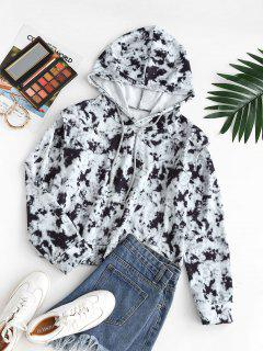 Drawstring Shoulder Pads Tie Dye Hoodie - Black S