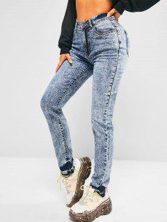 High Waisted Frayed Hem Skinny Jeans - Blue S