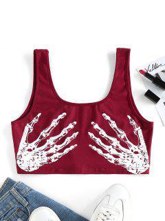 ZAFUL Skeleton Hand Print Crop Tank Top - Red Wine Xl
