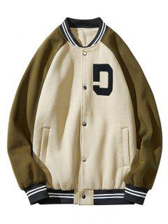 Colorblock Panel Raglan Sleeve Baseball Jacket - Green Xl