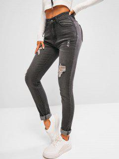 High Waisted Distressed Faded Skinny Jeans - Black M