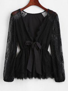 Lace Sheer Tie Plunge Peplum Blouse - Black S