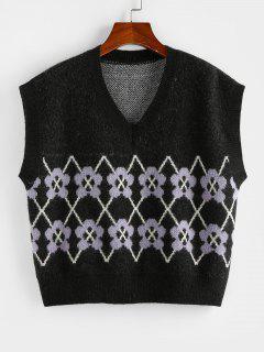 ZAFUL Flower V Neck Loose Sweater Vest - Black S