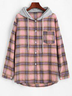 Camisa Con Capucha A Cuadros Con Bolsillo - Rosa Claro S