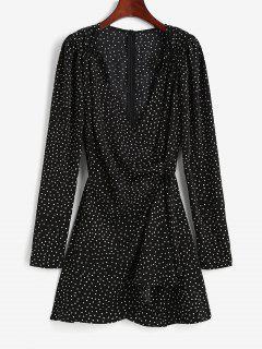 Polka Dot Puff Sleeve Cinched Surplice Dress - Black L