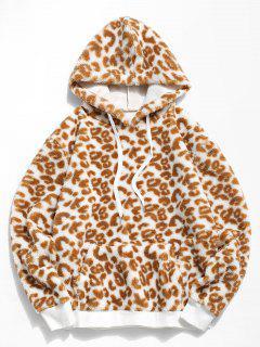 Leopard Pattern Faux Fur Teddy Hoodie - Light Coffee M