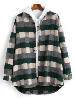 Plaid Patch Wool Shirt Jacket - Green L