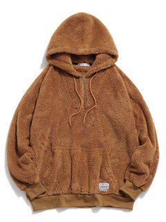 ZAFUL Solid Raglan Sleeve Fluffy Hoodie - Coffee L