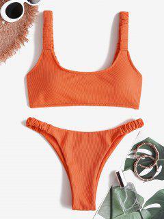 ZAFUL Strukturierte Elastische Tank Bikini Badebekleidung Mit Rüschen - Orange M