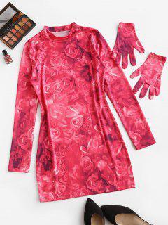 Krawattenfärbendes Blumen Langarm Bodycon Kleid - Hell-pink S