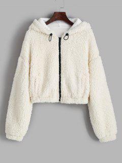 ZAFUL Hooded Drop Shoulder Pocket Teddy Coat - White S