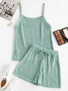 Knitted Cami Two Piece Shorts Set - Light Green L