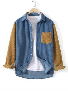 Corduroy Pocket Two Tone Shirt - Silk Blue L