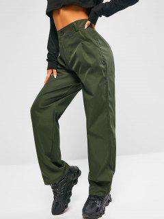 High Waisted Slant Pockets Straight Pants - Hazel Green L