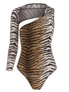 Tiger Print Open Back Bodysuit - Coffee L