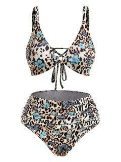 ZAFUL Plus Size Ribbed Leopard Butterfly Ruched Bikini Swimwear - Multi Xxl