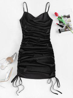 ZAFUL Satin Cinched Cowl Front Mini Dress - Black M