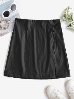 ZAFUL Faux Leather Loop Button Mini Skirt - Black L
