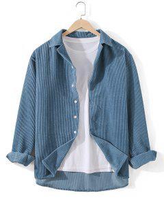 Camisa De Túnica Com Nervuras - Seda De Azul 3xl