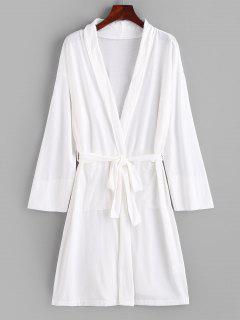 Robe Pyjama Longue Ceinturée Ouverte En Avant Avec Poche - Blanc L