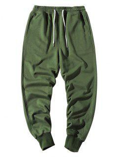 Elastic Waist Solid Jogger Sweatpants - Army Green Xs