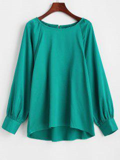 Satin Keyhole Back Raglan Sleeve Blouse - Green S