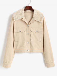ZAFUL Pocket Faux Shearling Collar Shirt Jacket - Light Coffee S