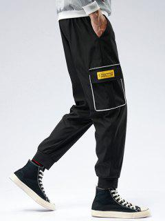 Striped Flap Pocket Patch Beam Feet Pants - Black S