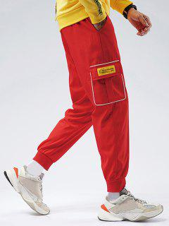 Striped Flap Pocket Patch Beam Feet Pants - Red S