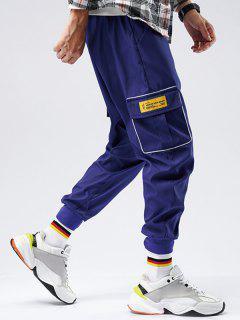 Striped Flap Pocket Patch Beam Feet Pants - Blue Xs